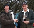 George Clark present the Mervyn Holmes Challenge Bowl to winner Mike Taylor (photo by Ben Groom)